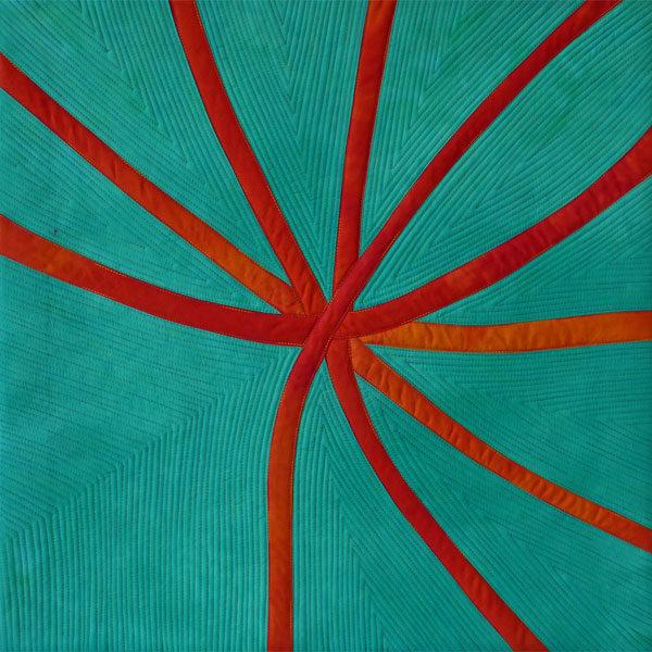 Blossom! (Orange Gum Blossom) textile painting by Brenda Gael Smith